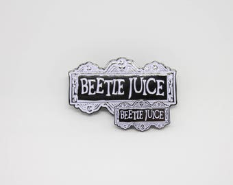 Beetlejuice Black and White Logo Enamel Pin