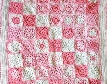 Pink Crochet Baby Blanket- Made To Order- Pink, White-  Granny Squares- Afghan- Nursery Bedding- Baby Girl- Baby Shower GIft