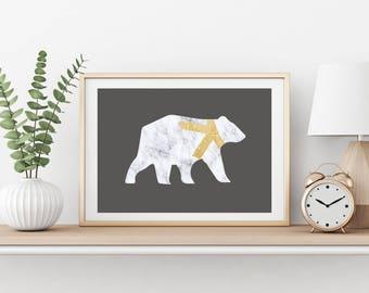 Marble Bear Print