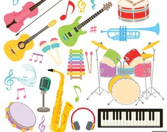 Musical Instruments Digital Clipart, Guitar Clipart , Violin Clipart, Drum Clipart