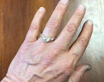 Men's Silver Wishbone or Magicians Ring