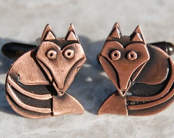 Fox cufflinks in copper finish