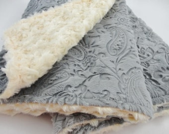 Personalized Charcoal & Light Yellow Paisley Minky Baby Blanket