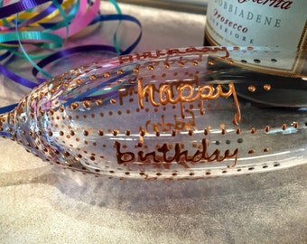 Birthday crystal champagne flute. hand painted. wired.