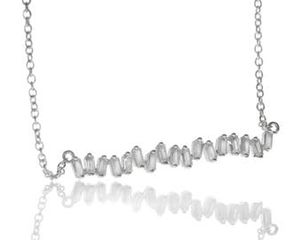 Asymmetric Baguette Necklace in Sterling Silver
