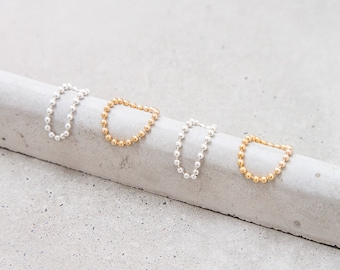 Ball Chain Ring / 14k gold filled or sterling silver stacking ring