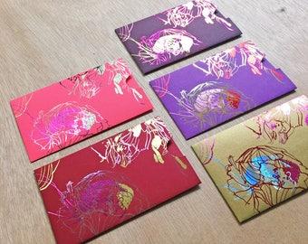 5 Handmade Chinese Red Envelopes - Peonies
