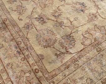 Area rug 8x10, Disstressed Antique Oushak Rug, Oushak rug, neutral color rug, Faded rug, Vintage rug, area rug, area rug 8x10, rug 007