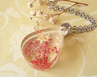Real Flower Jewelry Resin Necklace Real Flower Necklace Pressed Flower Necklace Resin Jewelry Red Necklace