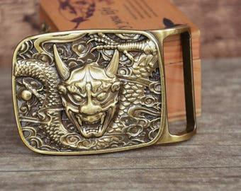 Mens Belt Buckle Solid Brass Belt Buckle Dragon Monster