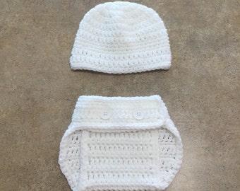 White Diaper Cover Set