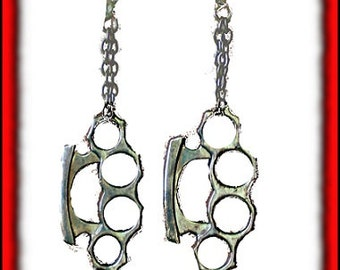 NEW ITEM- Silverplated Brass Knuckles Dusters Chained Earrings
