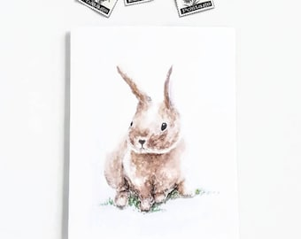 Easter Bunny Cards, Blank Greeting Cards with White envelopes, Prints of original watercolor art, 4 x 5.5 inches, Spring Cards, Rabbit Cards