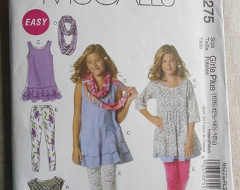 McCall's 6275 Girl's and Girl's Plus Dresses , Scarf and Leggings  Size 10 1/2  -  16 1/2