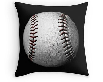Baseball Pillow, Baseball Print, Baseball Decor, Sports Print, Boys Room Decor, Baseball Photo, Baseball Toss Pillow, Baseball Throw Pillow