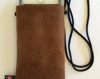 Smartphone Neck or Cross Body Bag-Brown Vegan Leather-iPhone 6, 6s, 7 and all Galaxy Models-Cell Phone Carry Case-Gift Idea