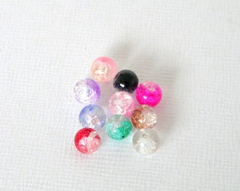 10 beads round 6mm multicolored Crackle Glass