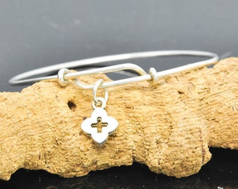 Cross Bangle, Sterling Silver Bangle, Adjustable Bangle, Bridesmaid Gift, Initial Bangle, Personalized Bangle, Charm Bangle, Monogram