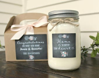 Housewarming Gift/ Home is where the heart is / Gift for new home / New homeowners / Moving Gift / 16 soy candle with box