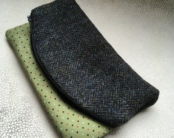 Grey herringbone Harris Tweed and green polka dot print fold over clutch bag