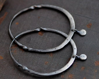 Dark sterling silver hoop earrings with a twist, and dangle,  large hammered sterling hoops, oval hoops, stamped hoops, eco friendly jewelry