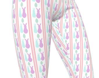 Striped Easter Bunny Print, High Waist Women's Stretch Leggings