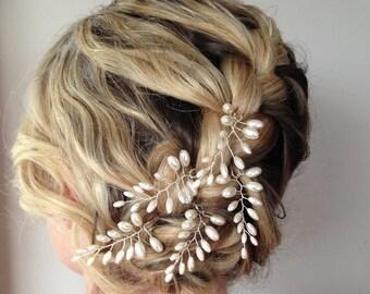 Fern Leaf Pearl Hair Pins,Fern Leaf Bridal Hair Pins, Wedding Hair Accessories,Set of Five, Bridal Hair Accessories, Ivory Pearl Hair PIns