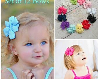 Hair Bows SET of 12 - Hair Bows, Hairbows, Girls Hair Bows, Baby Bows, Toddler Hair Bows, Hair bow, Hair Clips, Baby girl Bows, Shower Gift.