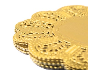 Gold Foil Doilies. Metallic Gold Paper Doilies 5 inch round Wedding doilies, Bridal Baby Showers, Tea Party decor, Birthday catering doily