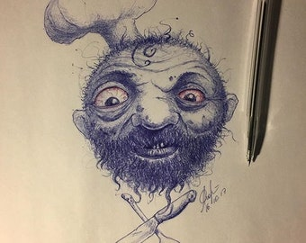 Monster, cook, print-pen painting, pen, exclusive, A4, sketch