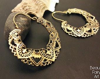 Brass earrings,hoop earrings,Hoops,big fashion earrings,Ethnic earrings,boho  hoop,tribal large earrings,gypsy  earrings,woman hoop,lace hoo