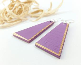 Wood Earrings, Purple Wood Earrings, Lilac Earrings, Purple Earrings, Lilac Wood Earrigs, Dangle Earrings, Lilac Wood Earrings, Eco Chic