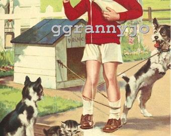 1930s Vintage Calendar Art Lithograph Print, Titled, Welcome Mr Milkman, Print # 445