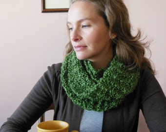 Olive Green Infinity Scarf Hand Knit Circle Loop Fashion Scarf