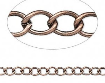 Antiqued Copper Plated Brass Chain - 5 ft -