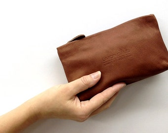 Sale!!! Brown Leather Pouch, leather Makeup bag, Small leather cosmetic bag