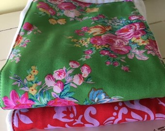 Diaper Burp Cloth Red Green Roses  Girly Flowers  fabric by Jennifer Paganelli Two Diaper Burp Cloths Nursery Baby Gift Shower Gift