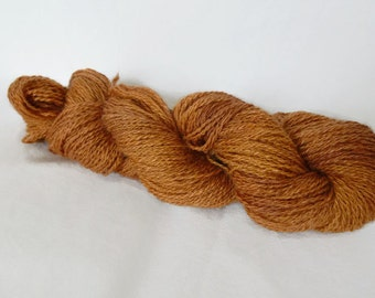 Hand spun yarn, baby alpaca and silk 50-50, natural madder dye, wire end 52 g / 143 m