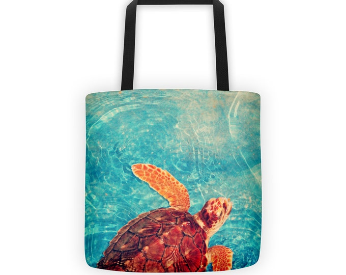 Sea Turtle Marine Life Tote for Eco Shopping and School and Sundry