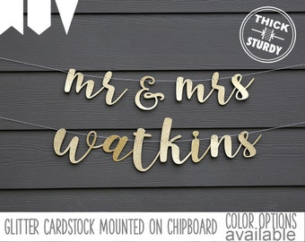 mr and mrs banner with Custom Last Name, Personalized banner, Gold Glitter party decorations, cursive banner