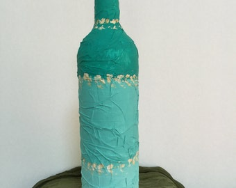 Gradient Teal Mummy Wrapped Upcycle Wine Bottle, Vase, Diffuser Decor
