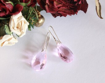 Pink Crystal and Silver earrings 925