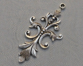 Oxidized Sterling Silver Plated Brass Filigree Pendants (2 pcs) 40x18mm F-2985-2
