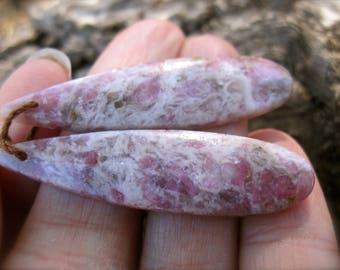 Rubellite Earring Pair - semiprecious stone beads - drilled elongated teardrops