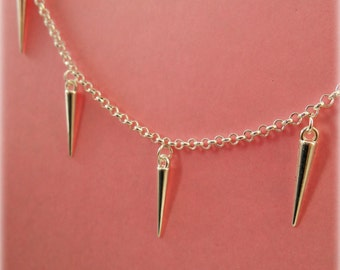 Spiked Anklet - Silver Plated, Extendible