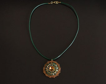 Round Beaded Pendant Necklace with Swarovski Crystal Iridescent Bronze Copper Green, on Dark Green Leather Cord Necklace. Vintage Style S138