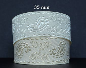 Embroidered Jacquard lace * Paisley * width 35