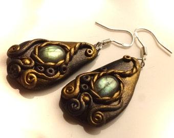 2 earrings with labradorite, 50 mm, earrings, labradorite, earring, Polymer clay