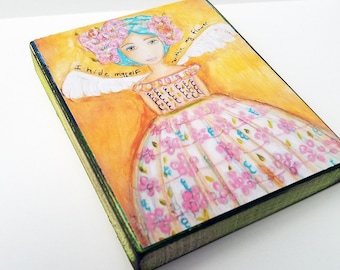 Primavera/Spring -  Angel/Fairy - Giclee print mounted on Wood (4 x 5 inches) Folk Art  by FLOR LARIOS