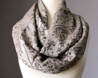 Beige scarf, tan scarf, pashmina infinity scarf, brown paisley scarf, silky and soft scarf